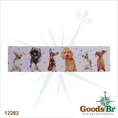 -tela impressa dogs varios coracoes  30x120x3cm