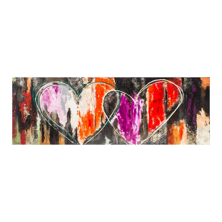 -quadro pintura dois coracoes 2  70x200x4cm