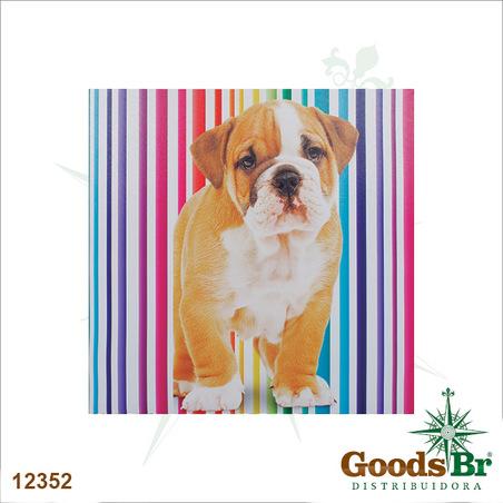 -tela impressa cachorro fundo listras  60x60x3cm