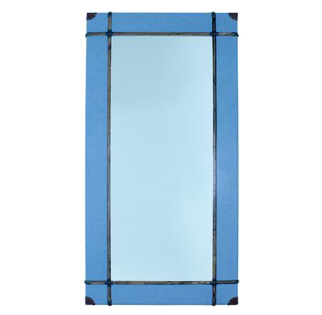 -espelho emoldurado wood/linen blue  100x200x8cm