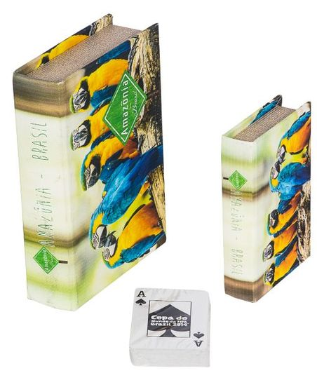 -book box cj 2pc araras azulamazonia  20x14x4cm