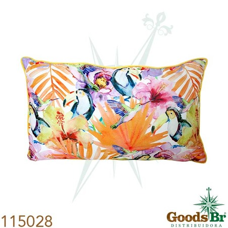 -almofada retangular flores c/tucanos  30x50x12cm
