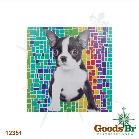 tela impressa cachorro fundo colorido  60x60x3cm