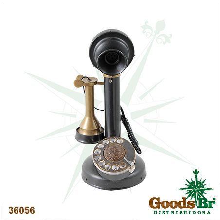 TELEFONE RETRO BRONZE VELHO DECORATIVO OLDWAY 30x13x16cm