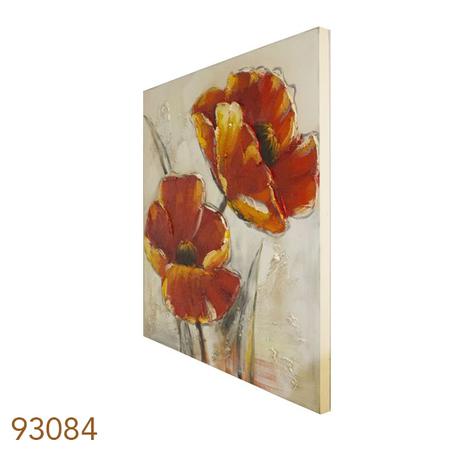 quadro pintura 2flores vermel fdo branco  80x80x3cm