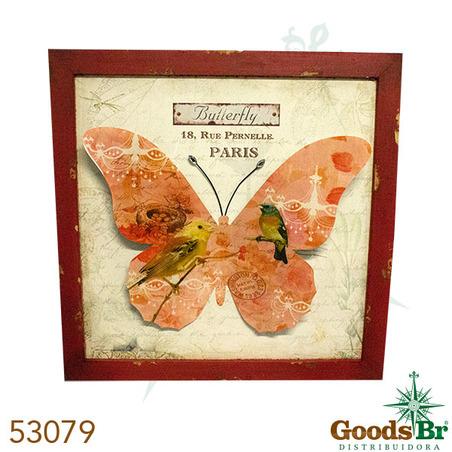 -quadro madeira borboleta ferro  80x80x2cm