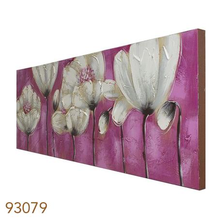 quadro pintura flores brancas fundo rosa  50x150x4cm