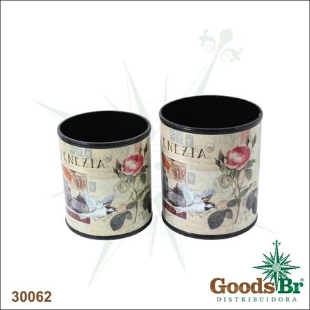 -lixeiras cj 2pc venezia floreflores redon  29x25cm