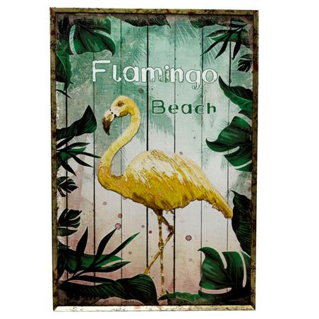 quadro com moldura folhas flamingo amarelo 60x40x4cm