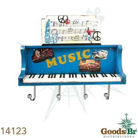 -movel d parede piano azul com ganchos  26x101x26cm