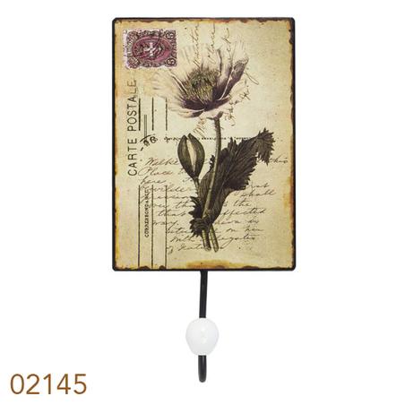 cabideiro metal 1 gancho carte postale  25x13x7cm