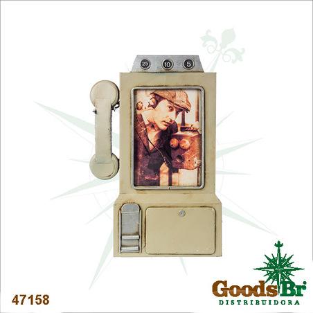 -porta retrato telefone cinza  31x32x3cm