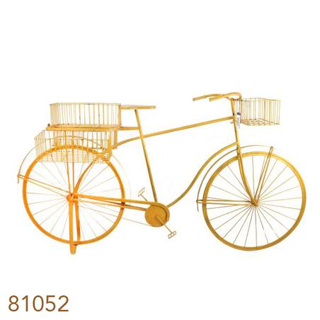 bicicleta amarela decorativa metal  101x184x57cm