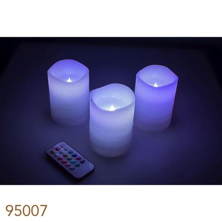 velas led cj 3pc controle remoto branca  10x8x8cm