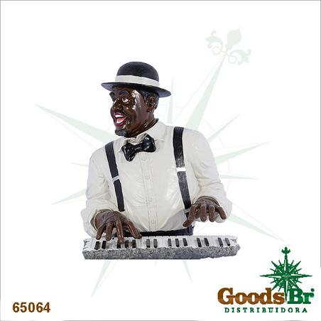 estatua homem pianista 52x36x33cm