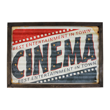 quadro em metal com led cinema  30x43x4cm