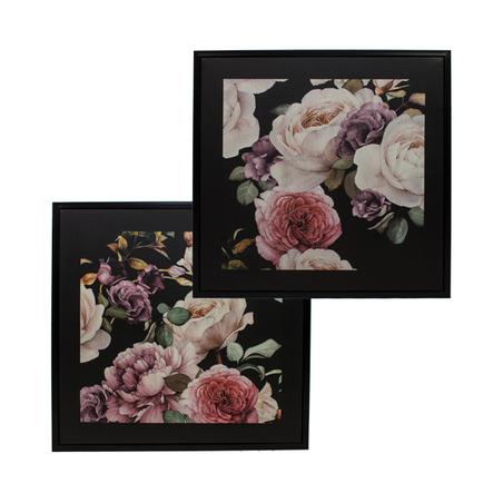 cj 2 telas impressas c/ mold rosas dark floral 80x80x3cm