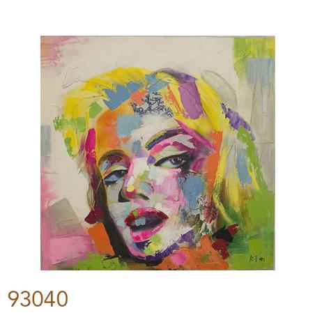 -quadro pintura rosto mulher/2color  100x100x4cm