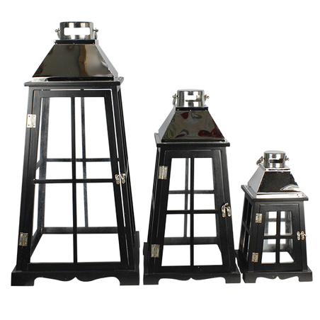 lanterna preta cj 3pc inox prata  68x35x35cm