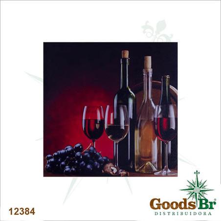 tela impressa vinhos e uva40x40x4cm