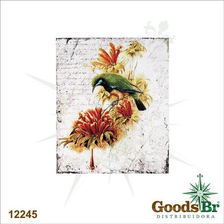 tela impressa passaro verde60x50x2,5cm
