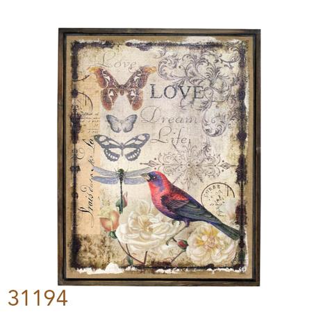 quadro linho antique love compÁssaro  85x60x4cm