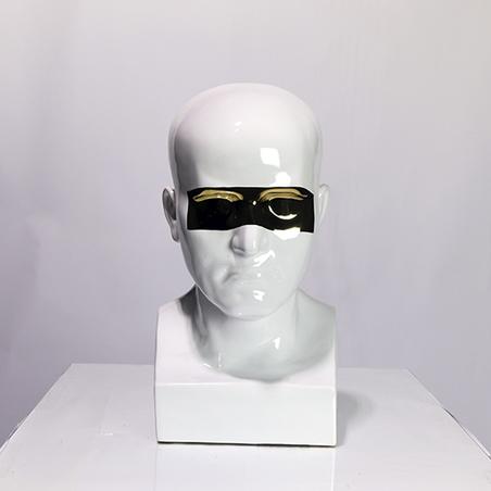 Escultura Rosto Cerâmica Grande Dourado Branco 43X23X25Cm