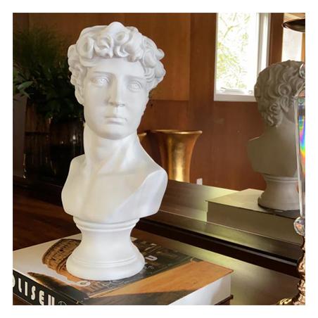 Escultura Busto Masculino Resina Branco 42X22X17Cm