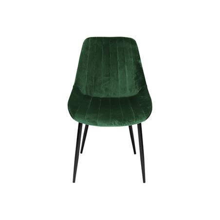 cadeira assento estofado veludo verde pe preto 84x50x58cm