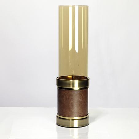 castiçal vidro metal bronze epu marrom 39x11x11cm