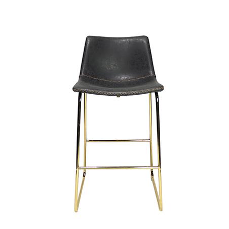 banqueta assento pu cinza pe ferro dourado 79x47x55cm