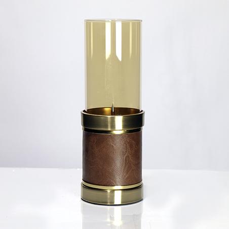 castiçal vidro metal bronze epu marrom 31x11x11cm