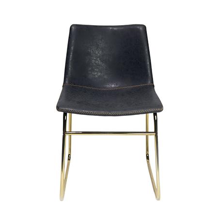 cadeira assento pu cinza pe ferro dourado 79x47x55cm