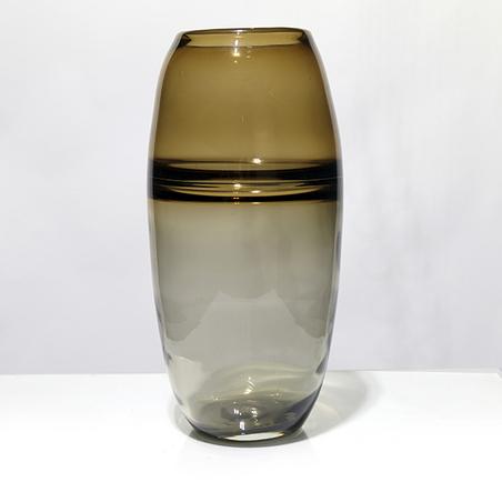 vaso vidro grande fumê e Âmbar 37x17x17cm