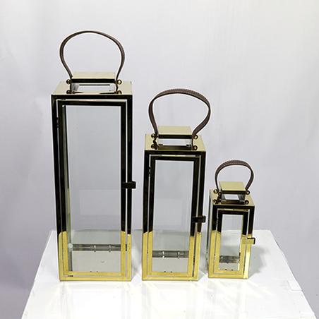 Lanterna Metal Dourada ConjuntO 3 PEÇAS