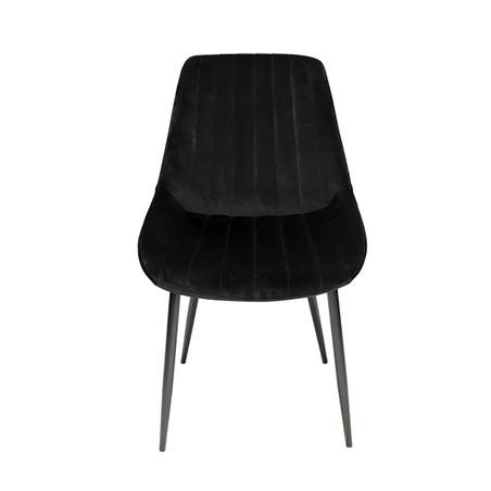 cadeira assento estofado veludo preto pe preto 84x50x58cm