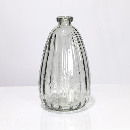 vaso vidro ranhurado médio fumê 30x17x17cm
