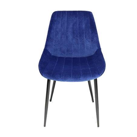 cadeira assento estofado veludo azul pe preto 84x50x58cm