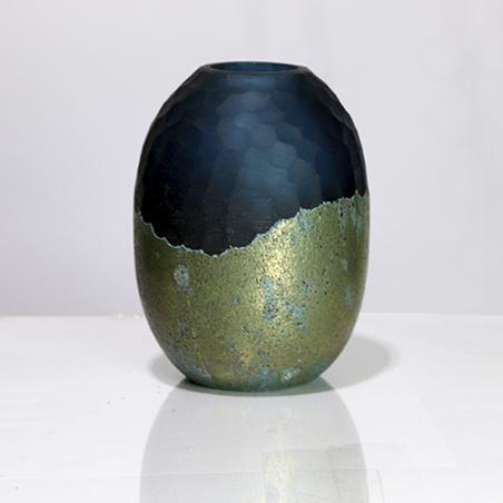 vaso redondo vidro pequeno verde e dourado 2015x15cm