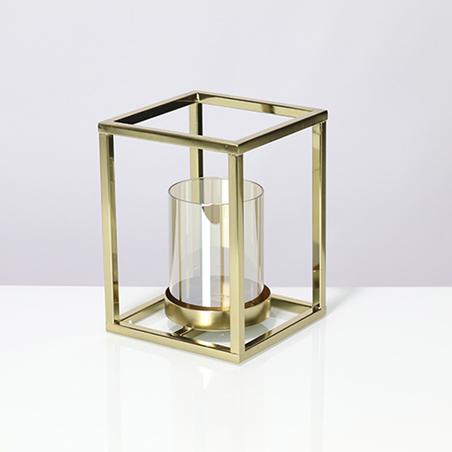 castiçal cubo metal dourado 20x15x15cm