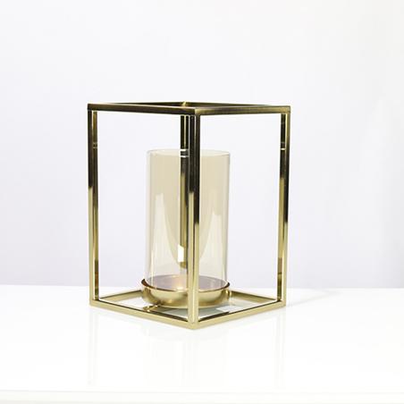 castiçal cubo metal dourado 27x19x19cm