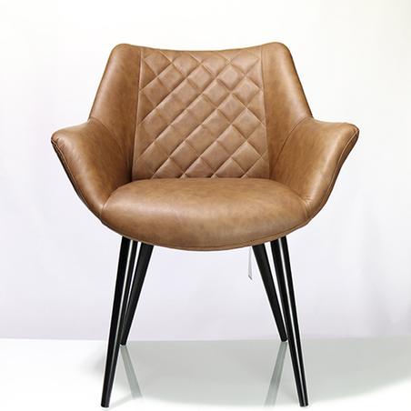 cadeira concha pu marrom matelasse pÉs preto 82x68x64cm