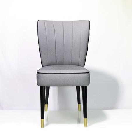 cadeira retro sarja cinza listra preta 94x54x46cm