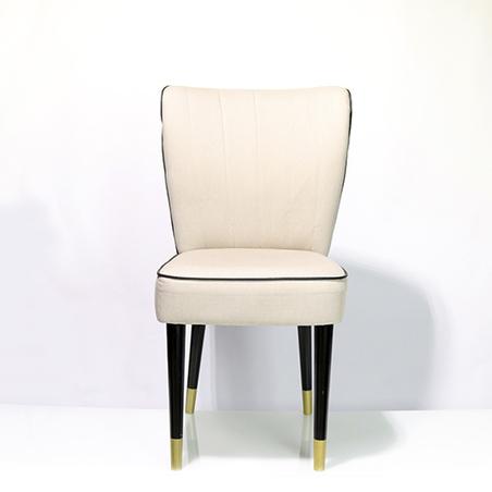 cadeira retro sarja bege listra preta 94x54x46cm