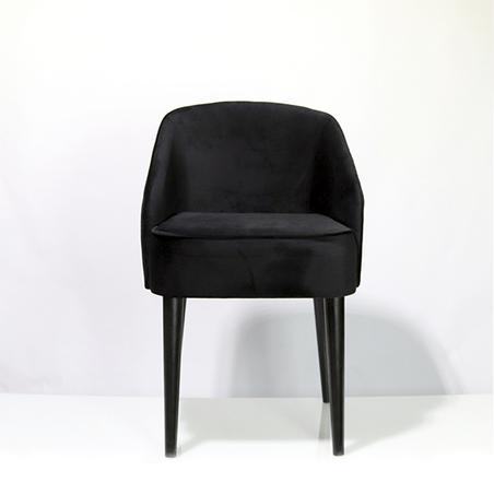 cadeira curva veludo preto 80x49x57cm