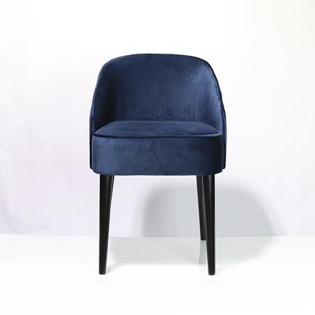 cadeira curva veludo azul 80x49x57cm