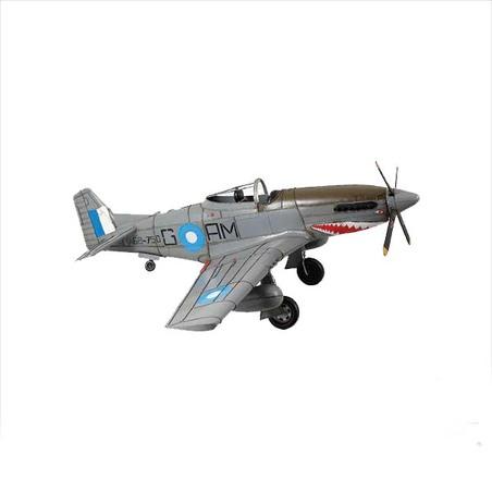 aviao guerra cinza em metal 42x116x103cm