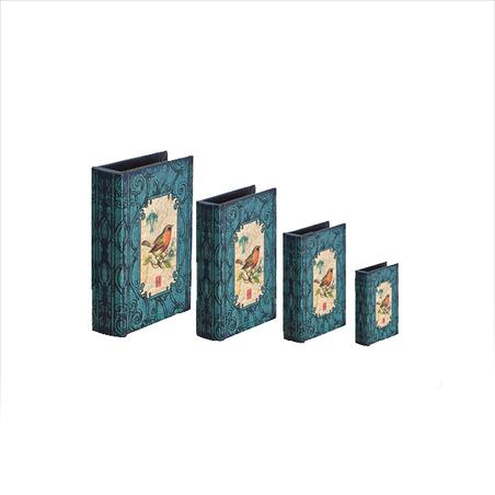 -book box cj 4pc azul arabesco com passaro  37x27x8cm