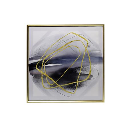 tela impressa c/ mold riscos dourados abstratos 60x60x3.5cm