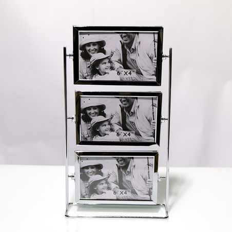 porta retrato de mesa 6 fotos metal prata 45x19x12cm